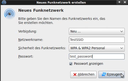 SSID, Verschlüsselung und Passwort eingeben